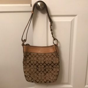 Coach brown canvas leather adjustable bag
