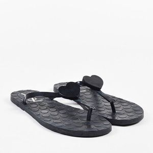 YSL {Yves Saint Laurent} Heart Jelly Flip Flops