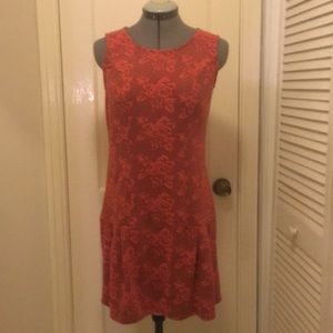 Pink Sleeveless Dress with Rose detail