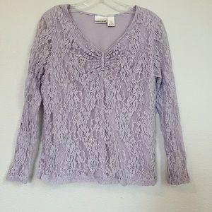 Women's Girly Pastel Purple Lace Long Sleeve Shirt