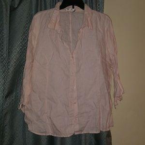 Old Navy Pink Linen 3/4 sleeve button down shirt