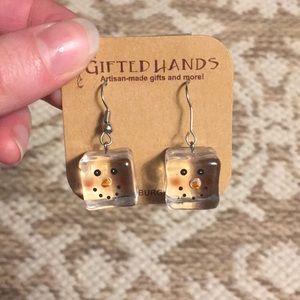 Artisan Earrings: Snow Man Cubes