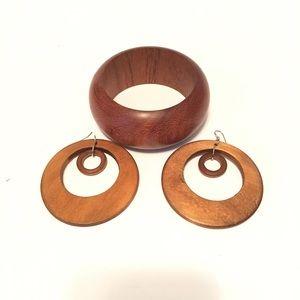 Wooden Earrings and Bracelet Set