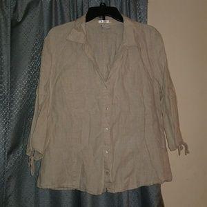 Old Navy Beige Linen 3/4 sleeve button down shirt