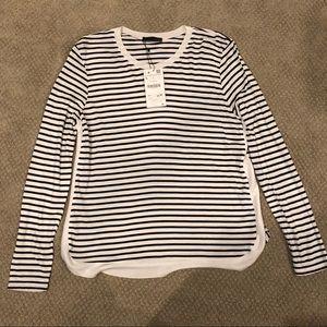 Zara Long Sleeve Stripe Breton T Shirt Top NWT