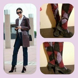 Vintage patchwork leather granny boots