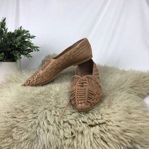 Vintage Leather Woven Oxford Flats