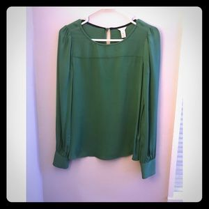 Jcrew silk green blouse. Size 00