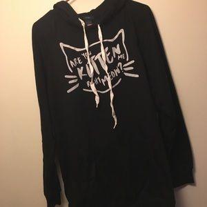 Black kitten hoodie