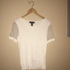 Cable & Gauge white viscose sequins blouse top