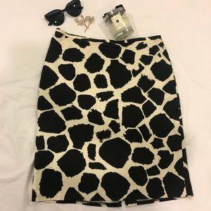 Loft black and beige giraffe print midi skirt