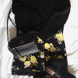 Topshop black floral mini skirt