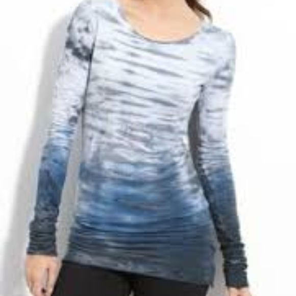 8a28f5d5849 Hard Tail Tops - Hard Tail Skinny Long Tee V-neck Blue Gray Tie Dye