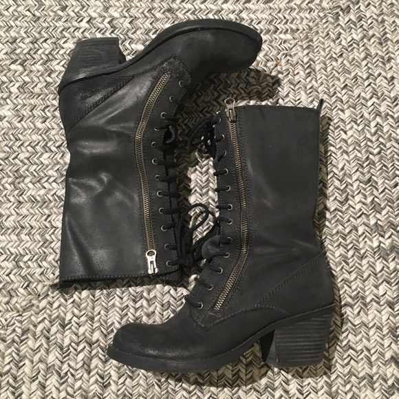 9cdf0e0a9d2 Miss Sixty Blair Lace Up Moto Boots
