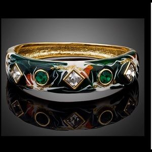 Gold Austrian Crystal oil painted bracelet