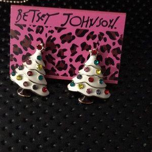 Betsy Johnson Christmas Tree Crystal Earrings