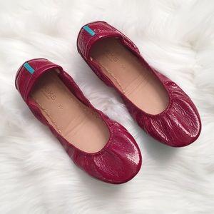 Ruby red patent Tieks