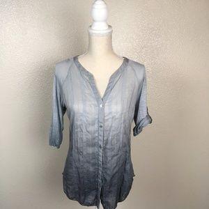 Anthro Tiny Ombre V-Neck Button Down Shirt