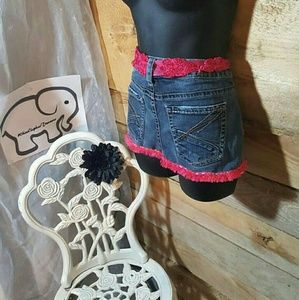 Upcycled Jean apron with pink flower fringe
