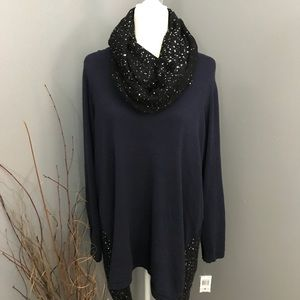 Navy Scoop Neck Sparkle Sweater w/Matching Scarf