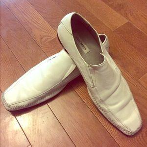 Steve Madden white loafers