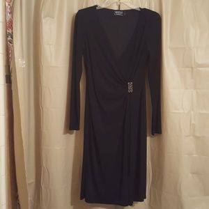 Beautiful Black faux wrap v-neck w/ broach