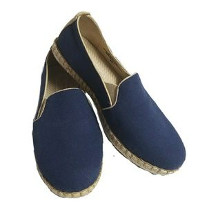 BORN shay navy solid fabric leather flats B58534