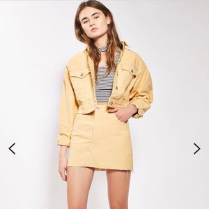 Topshop yellow denim mini skirt