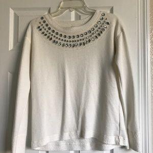 Ivory Sweater with Rhinestone Detail.