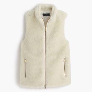 J. Crew Ivory White Plush Fleece Excursion Vest