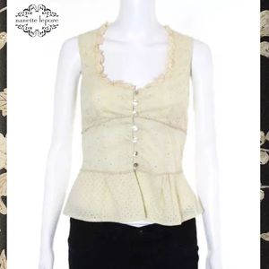 NANETTE LEPORE Beige Lace Trim Button Down Blouse