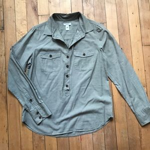J. Crew green popover shirt size XS