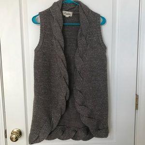 Grey Sparkle Braided Vest Cardigan Sweater