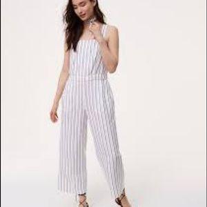 loft jumpsuits. loft white gray stripe linen jumpsuit sz xsp loft jumpsuits
