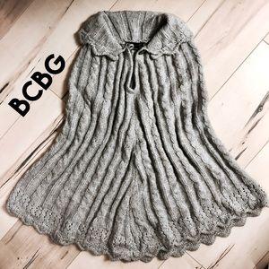 BCBG cable knit scallop edge cape/poncho