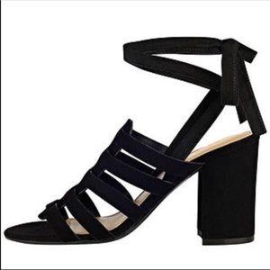Marc Fisher black suede wrap heels