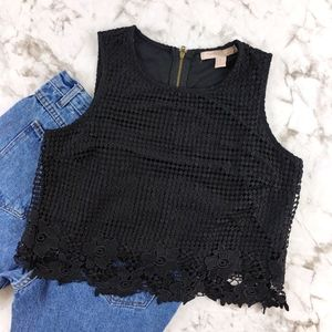 Forever 21 Black Sleeveless Embroidered Lace Crop