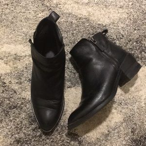 Fur-lined black ankle boots