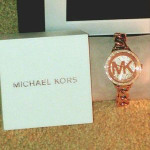 MK Slim Runway Pave Rose Gold Chain Link Watch