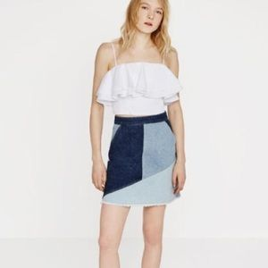 Zara denim patchwork skirt