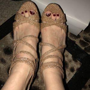 ALDO rose gold glitter heels size 38