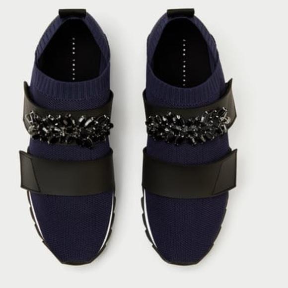 Sale Zara Beaded Stretch Sneaker | Poshmark