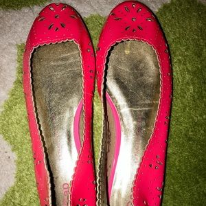 GAP Neon Pink Leather Cut Out Ballet Flats 6M NWT