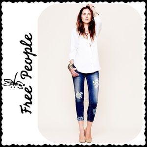 Free People Magnolia Floral Print Skinny Jeans 26