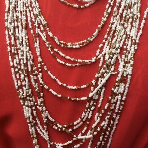 Vintage mega-Strand pearl glass gold Necklace