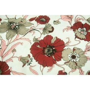 Vintage silk floral head scarf pink red tan