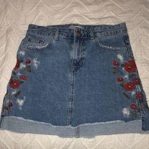 Zara Embroidered Jean Mini Skirt