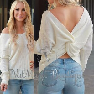 Ivory Knot Back Sweater