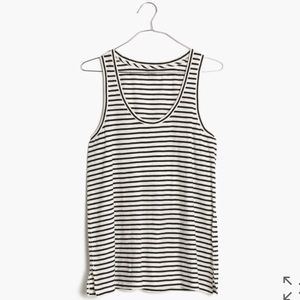 NWOT Madewell tank top black white stripe medium