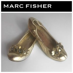 Marc Fisher Gold Zippy Ballet Flats Size: 8